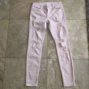 Denim - Blush pink distressed skinny jeans size 3 NWOT